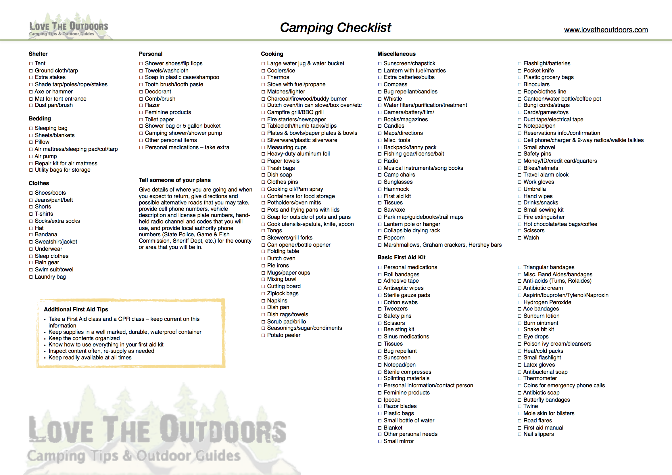 Camping Checklist – Love The Outdoors